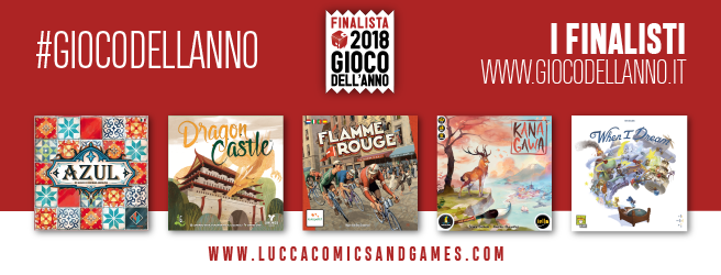 Gioco dell'anno 2018 finalisti: Azul, Kanagawa, When i dream, Flamme rouge e Dragon Castle
